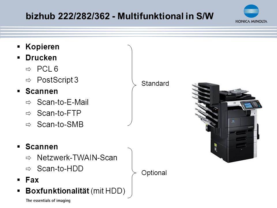 Vielseitiges Faxen (optional) Analog und Digital Super G3-Fax Übertragungsgeschwindigkeit: 33.600 bps Automatische Weiterleitung als E-Mail PC-Fax-Funktion Vertrauliches Senden und Empfangen Viele weitere Fax-Funktionen Zweite Faxleitung (optional) für gleichzeitiges Empfangen und Versenden von Faxen