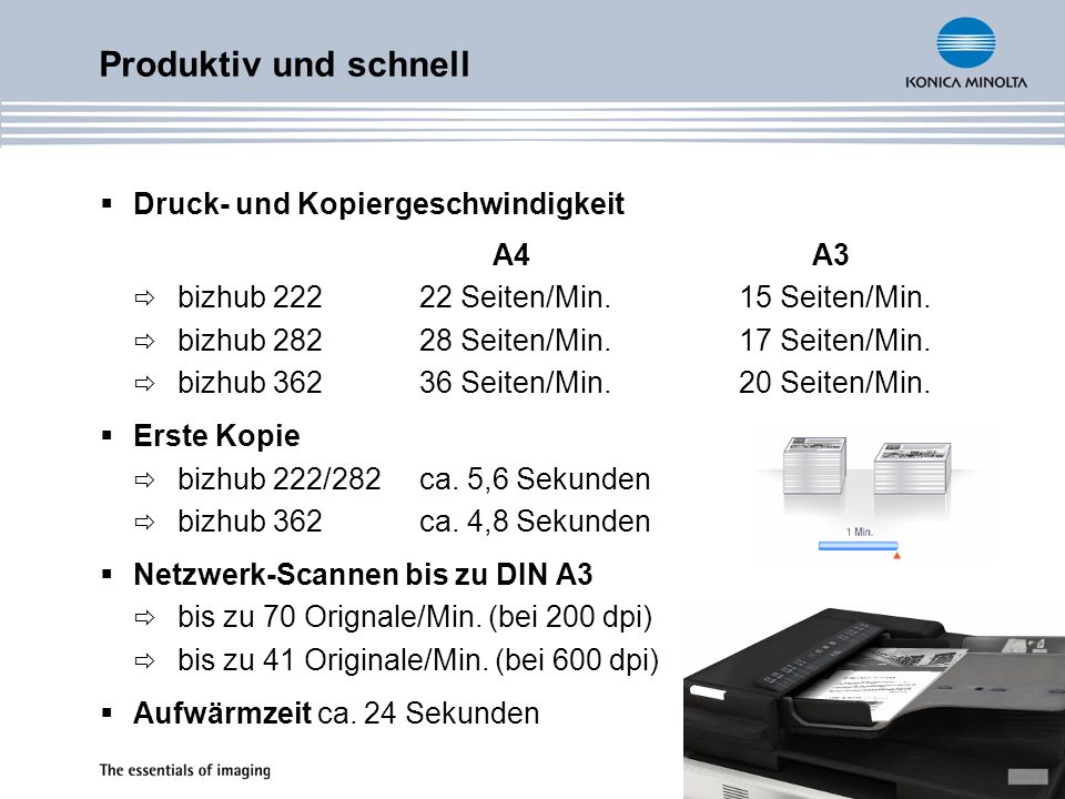 Druck- und Kopiergeschwindigkeit A4 A3 bizhub 222 22 Seiten/Min. 15 Seiten/Min. bizhub 282 28 Seiten/Min. 17 Seiten/Min. bizhub 362 36 Seiten/Min. 20