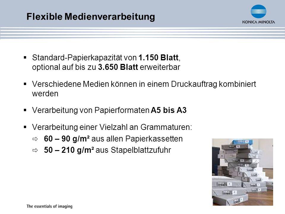 Standard-Papierkapazität von 1.150 Blatt, optional auf bis zu 3.650 Blatt erweiterbar Verschiedene Medien können in einem Druckauftrag kombiniert werd