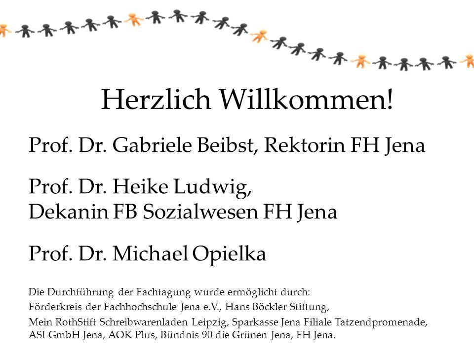 Herzlich Willkommen! Prof. Dr. Gabriele Beibst, Rektorin FH Jena Prof. Dr. Heike Ludwig, Dekanin FB Sozialwesen FH Jena Prof. Dr. Michael Opielka Die