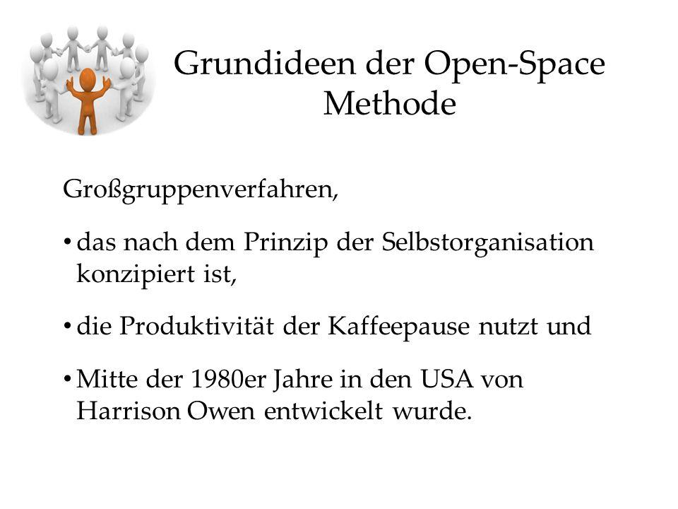 Grundideen der Open-Space Methode Großgruppenverfahren, das nach dem Prinzip der Selbstorganisation konzipiert ist, die Produktivität der Kaffeepause