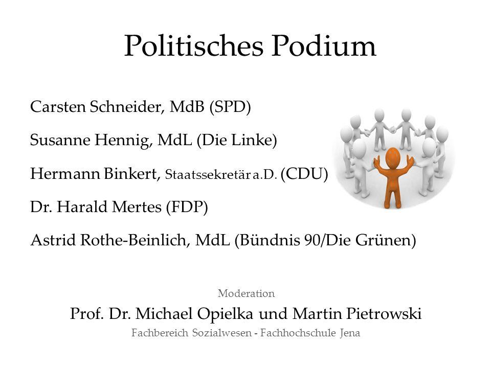 Politisches Podium Carsten Schneider, MdB (SPD) Susanne Hennig, MdL (Die Linke) Hermann Binkert, Staatssekretär a.D. (CDU) Dr. Harald Mertes (FDP) Ast