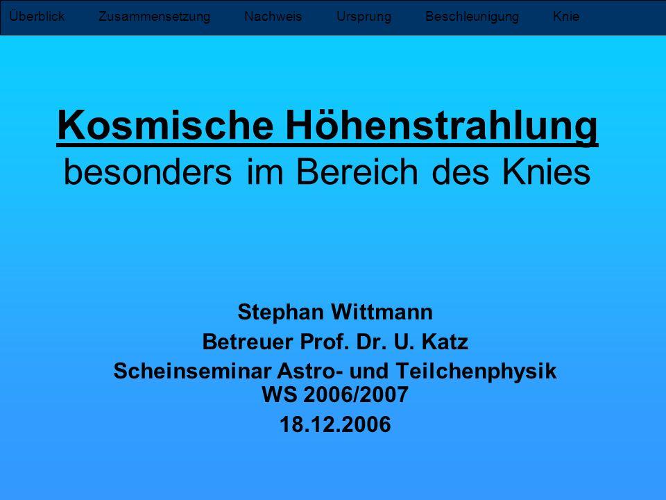 Überblick Zusammensetzung Nachweis Ursprung Beschleunigung Knie Kosmische Höhenstrahlung besonders im Bereich des Knies Stephan Wittmann Betreuer Prof