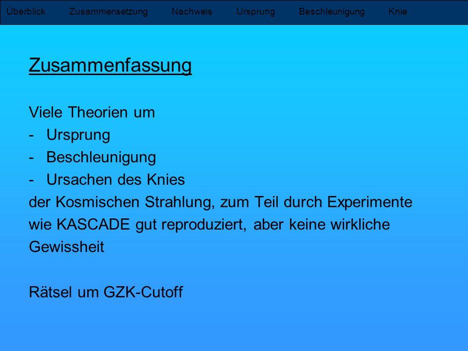 Zusammenfassung Viele Theorien um -Ursprung -Beschleunigung -Ursachen des Knies der Kosmischen Strahlung, zum Teil durch Experimente wie KASCADE gut r