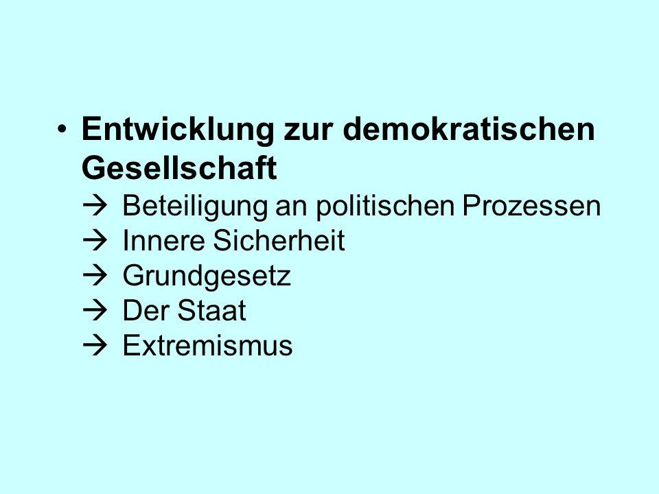 Entwicklung zur demokratischen Gesellschaft Beteiligung an politischen Prozessen Innere Sicherheit Grundgesetz Der Staat Extremismus