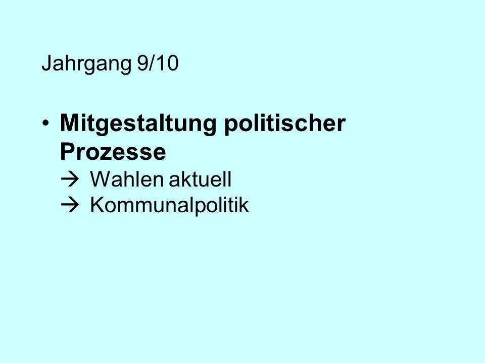 Jahrgang 9/10 Mitgestaltung politischer Prozesse Wahlen aktuell Kommunalpolitik