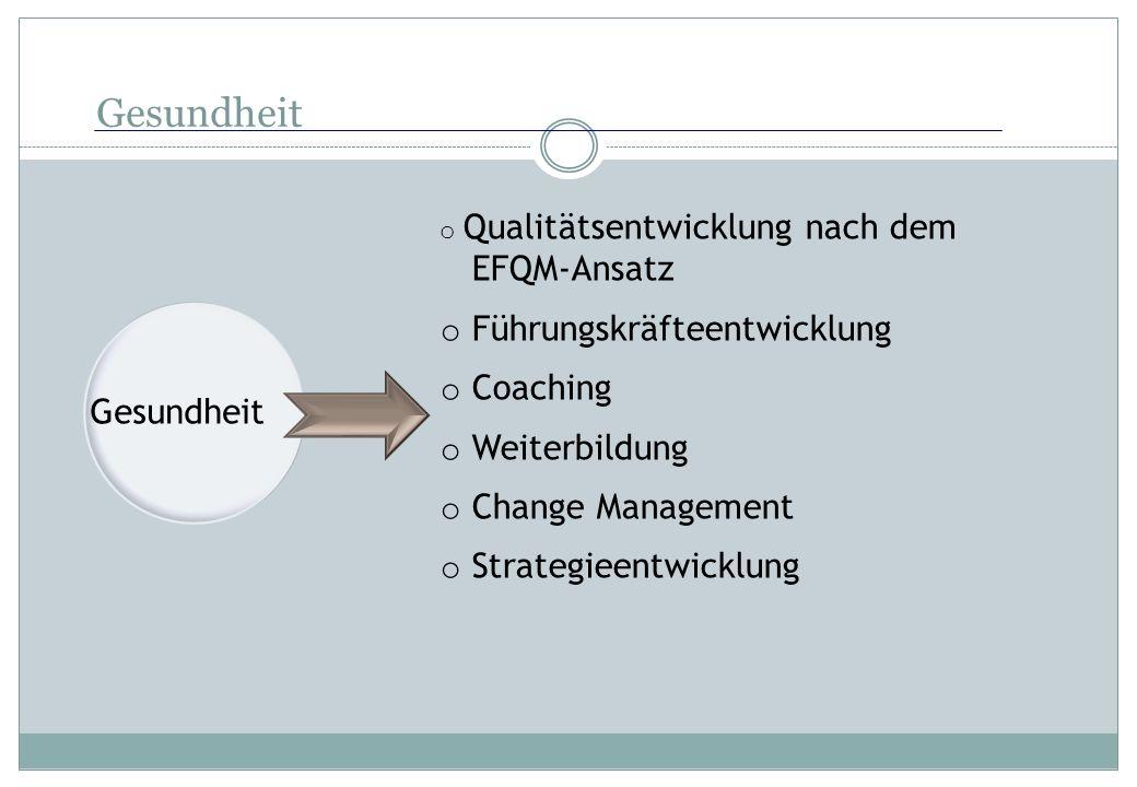 Gesundheit o Qualitätsentwicklung nach dem EFQM-Ansatz o Führungskräfteentwicklung o Coaching o Weiterbildung o Change Management o Strategieentwicklu