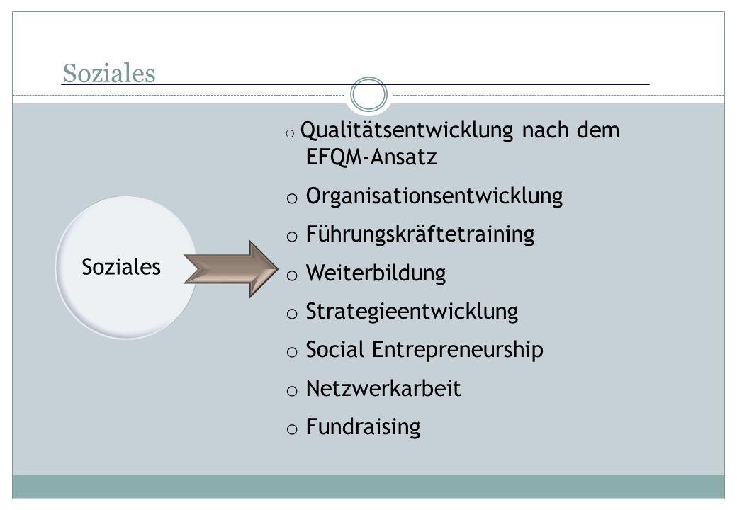 Soziales o Qualitätsentwicklung nach dem EFQM-Ansatz o Organisationsentwicklung o Führungskräftetraining o Weiterbildung o Strategieentwicklung o Soci
