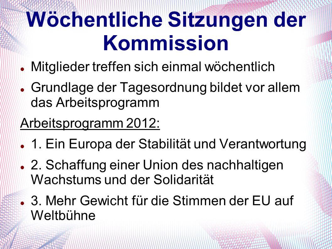 Wöchentliche Sitzungen der Kommission Mitglieder treffen sich einmal wöchentlich Grundlage der Tagesordnung bildet vor allem das Arbeitsprogramm Arbei