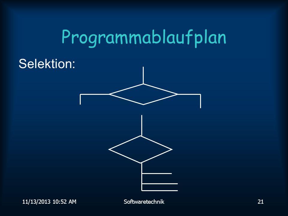 11/13/2013 10:54 AMSoftwaretechnik20 Notationen Beschreibung eines Sachverhaltes durch Symbole Beispiel: Selektion innerhalb eines Programms Wenn eine Bedingung zutrifft, mach dieses, wenn sie nicht zutrifft, mach jenes