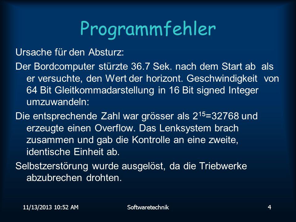 11/13/2013 10:54 AMSoftwaretechnik4 Programmfehler Ursache für den Absturz: Der Bordcomputer stürzte 36.7 Sek.