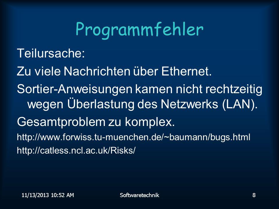 11/13/2013 10:54 AMSoftwaretechnik38 Prinzipien Ziel der Softwaretechnik ist es, qualitativ hochwertige Programme in einem vertretbaren Kosten- und Zeitrahmen herzustellen.