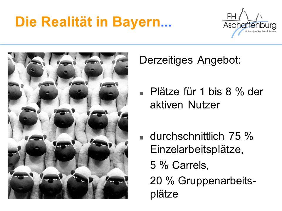 Die Realität in Bayern... Derzeitiges Angebot: Plätze für 1 bis 8 % der aktiven Nutzer durchschnittlich 75 % Einzelarbeitsplätze, 5 % Carrels, 20 % Gr