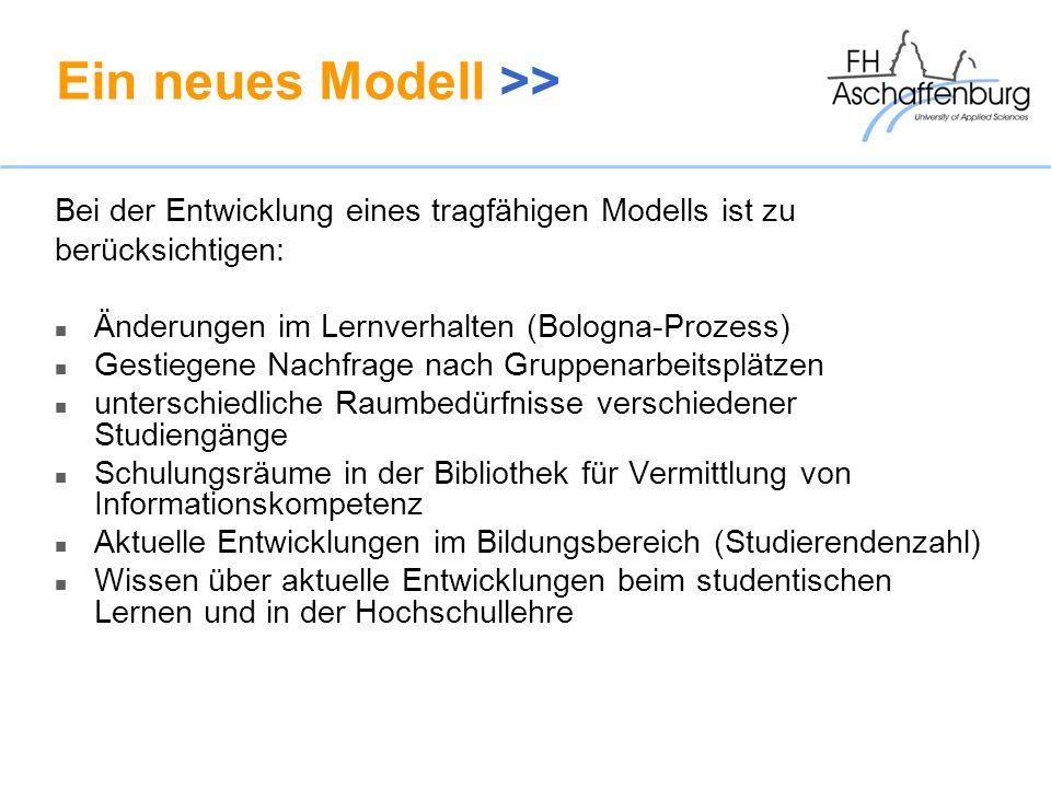 Ein neues Modell >> Bei der Entwicklung eines tragfähigen Modells ist zu berücksichtigen: Änderungen im Lernverhalten (Bologna-Prozess) Gestiegene Nac