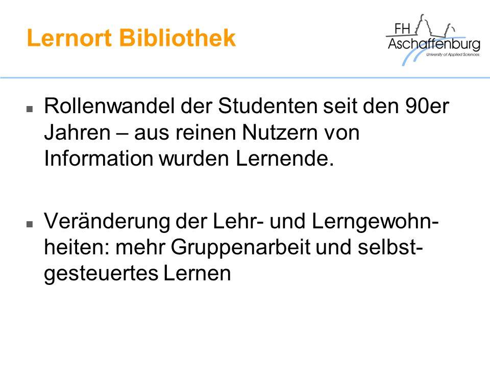Lernort Bibliothek Rollenwandel der Studenten seit den 90er Jahren – aus reinen Nutzern von Information wurden Lernende. Veränderung der Lehr- und Ler