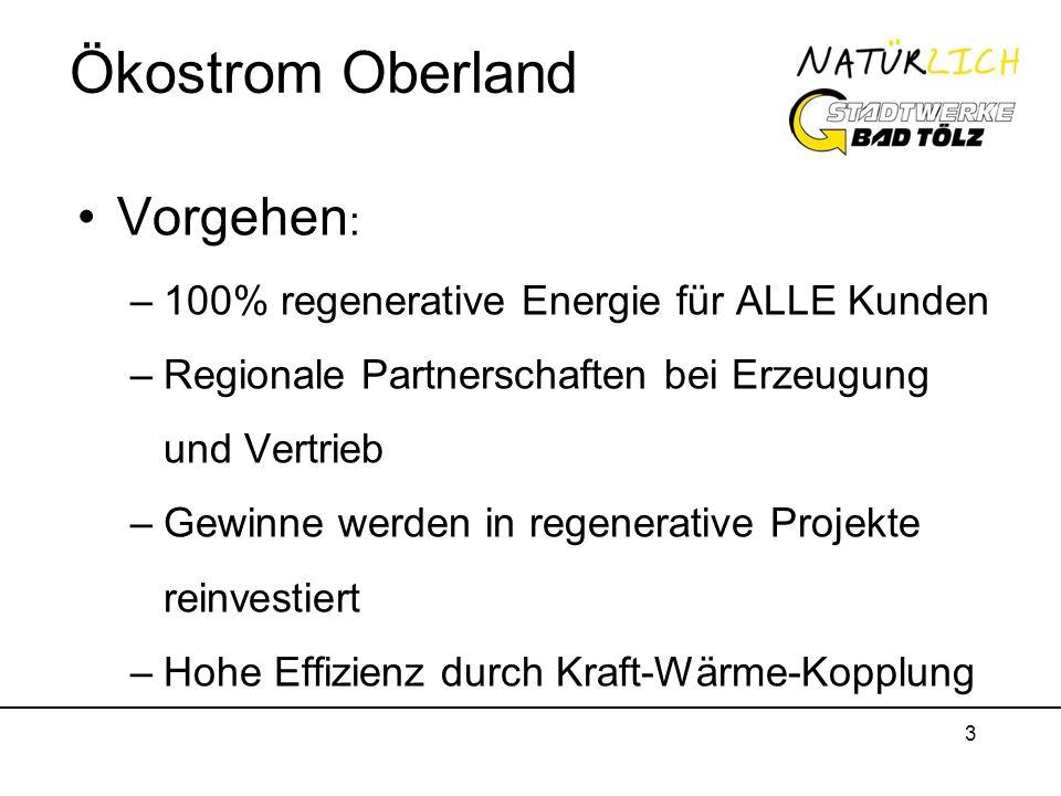 3 Ökostrom Oberland Vorgehen : –100% regenerative Energie für ALLE Kunden –Regionale Partnerschaften bei Erzeugung und Vertrieb –Gewinne werden in reg