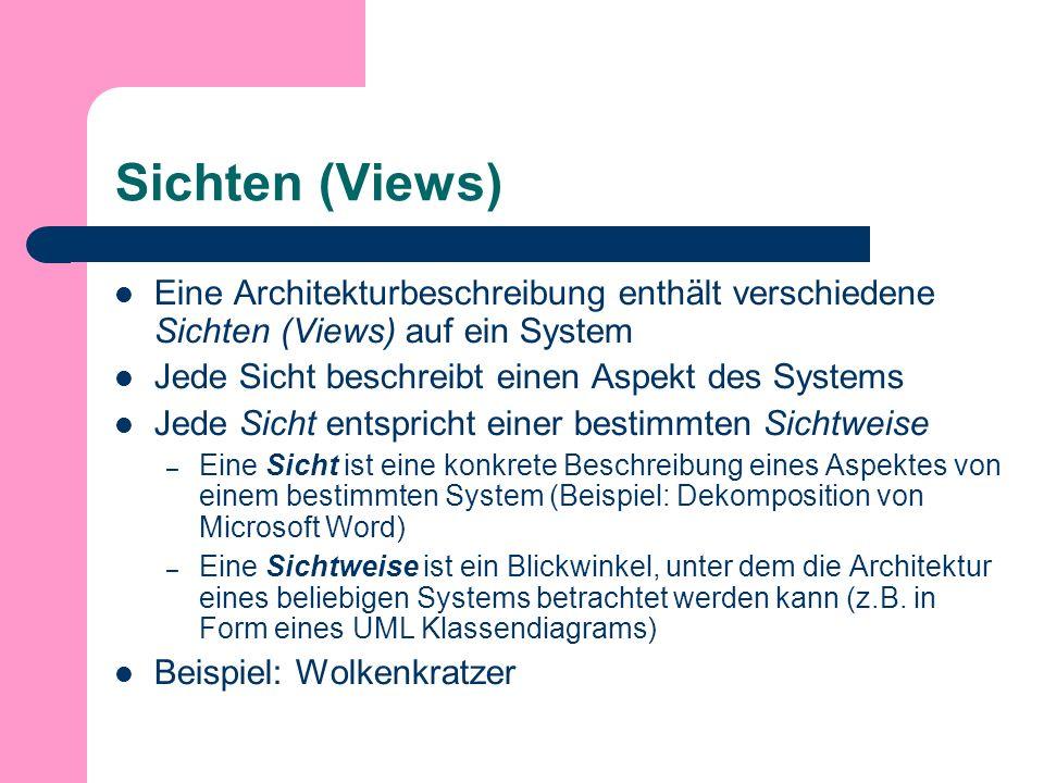 Sichten (Views) Eine Architekturbeschreibung enthält verschiedene Sichten (Views) auf ein System Jede Sicht beschreibt einen Aspekt des Systems Jede Sicht entspricht einer bestimmten Sichtweise – Eine Sicht ist eine konkrete Beschreibung eines Aspektes von einem bestimmten System (Beispiel: Dekomposition von Microsoft Word) – Eine Sichtweise ist ein Blickwinkel, unter dem die Architektur eines beliebigen Systems betrachtet werden kann (z.B.