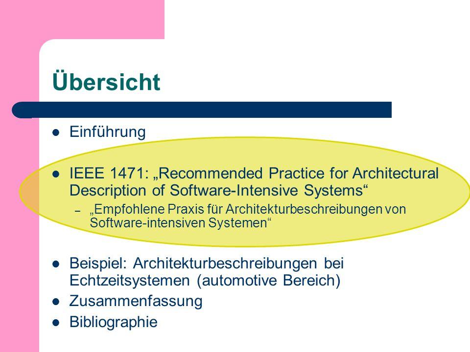 Übersicht Einführung IEEE 1471: Recommended Practice for Architectural Description of Software-Intensive Systems – Empfohlene Praxis für Architekturbeschreibungen von Software-intensiven Systemen Beispiel: Architekturbeschreibungen bei Echtzeitsystemen (automotive Bereich) Zusammenfassung Bibliographie