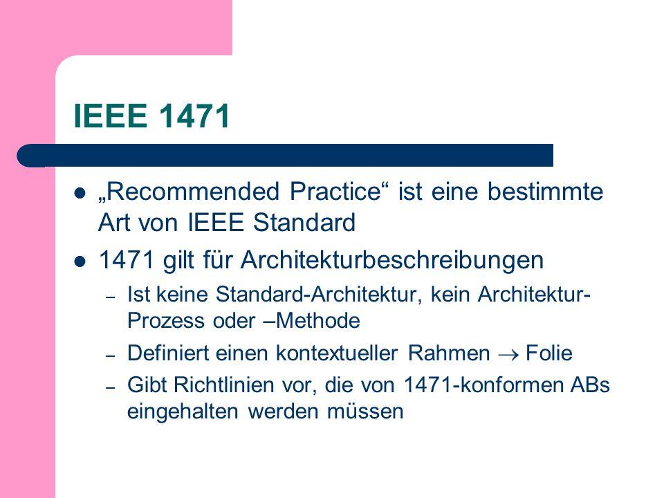 IEEE 1471 Recommended Practice ist eine bestimmte Art von IEEE Standard 1471 gilt für Architekturbeschreibungen – Ist keine Standard-Architektur, kein Architektur- Prozess oder –Methode – Definiert einen kontextueller Rahmen Folie – Gibt Richtlinien vor, die von 1471-konformen ABs eingehalten werden müssen