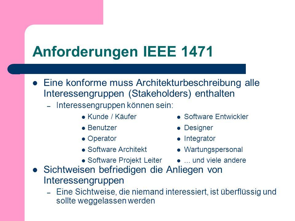 Anforderungen IEEE 1471 Eine konforme muss Architekturbeschreibung alle Interessengruppen (Stakeholders) enthalten – Interessengruppen können sein: Sichtweisen befriedigen die Anliegen von Interessengruppen – Eine Sichtweise, die niemand interessiert, ist überflüssig und sollte weggelassen werden Kunde / Käufer Benutzer Operator Software Architekt Software Projekt Leiter Software Entwickler Designer Integrator Wartungspersonal...