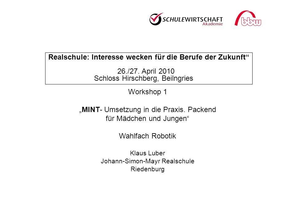 Realschule: Interesse wecken für die Berufe der Zukunft 26./27. April 2010 Schloss Hirschberg, Beilngries Workshop 1 MINT- Umsetzung in die Praxis. Pa