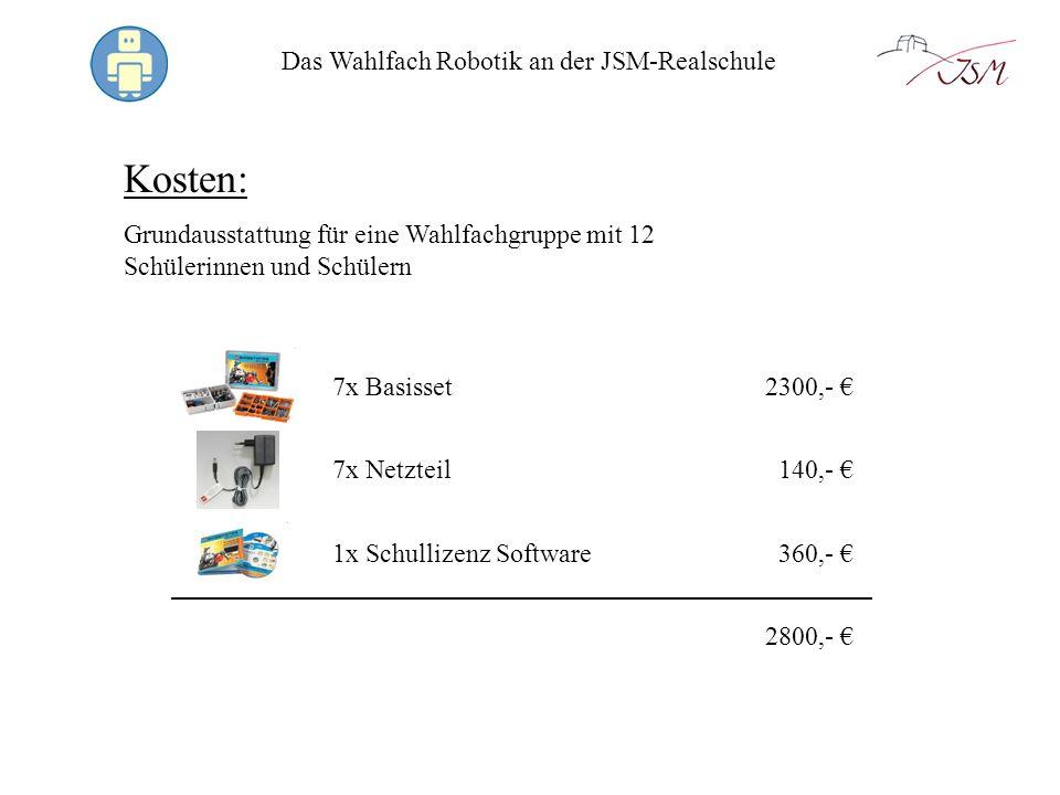 Das Wahlfach Robotik an der JSM-Realschule Das bekommt man: 431 LEGO-Elemente inkl.