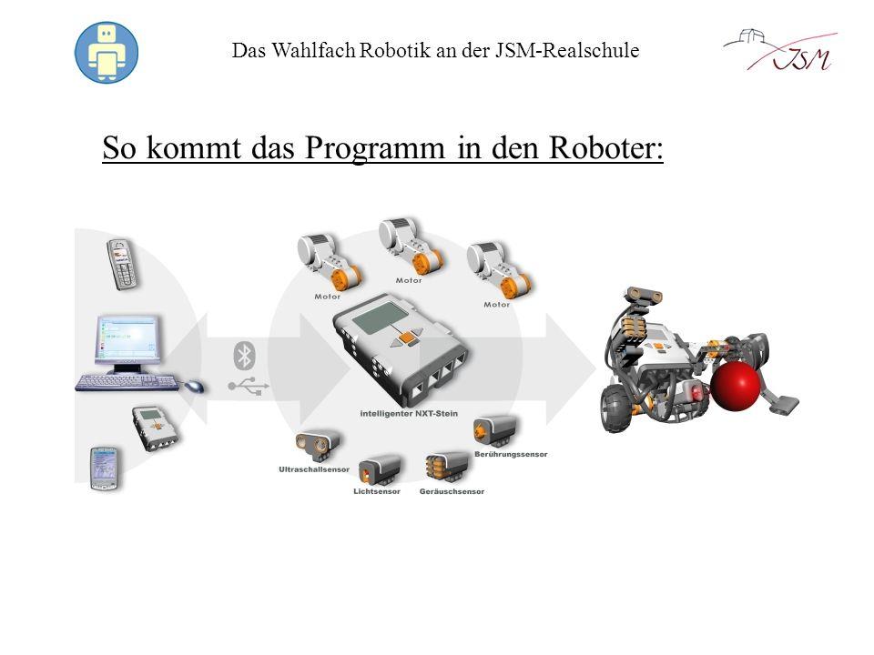 Das Wahlfach Robotik an der JSM-Realschule So kommt das Programm in den Roboter: LEGO Mindstorms Software: Vorgefertigte Befehle werden aneinander gereiht und ergeben ein Programm.