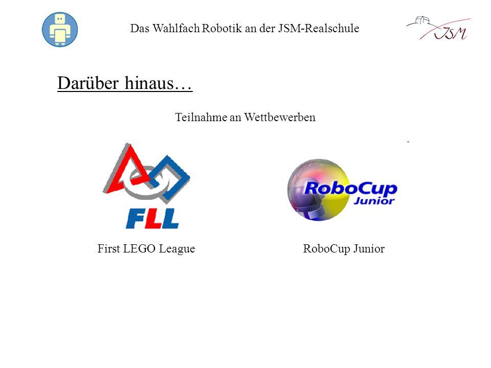 Das Wahlfach Robotik an der JSM-Realschule Links http://www.technik-lpe.eu/ Fachhändler für Robotik-Systeme http://bricxcc.sourceforge.net/ Kostenlose alternative Programmierumgebung für Roboter http://www.nxt-in-der-schule.de/ Übersicht über das LEGO NXT-Robotik-System http://www.robocup-german-open.de/de/junior Nationaler Robotik-Wettbewerb für Schüler http://www.hands-on-technology.de/firstlegoleague Internationaler Robotik-Wettbewerb http://www.smart-girls.info/Smart-Girls/ Robotertechnik für Mädchen