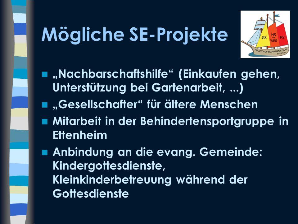 Mögliche SE-Projekte Nachbarschaftshilfe (Einkaufen gehen, Unterstützung bei Gartenarbeit,...) Gesellschafter für ältere Menschen Mitarbeit in der Beh