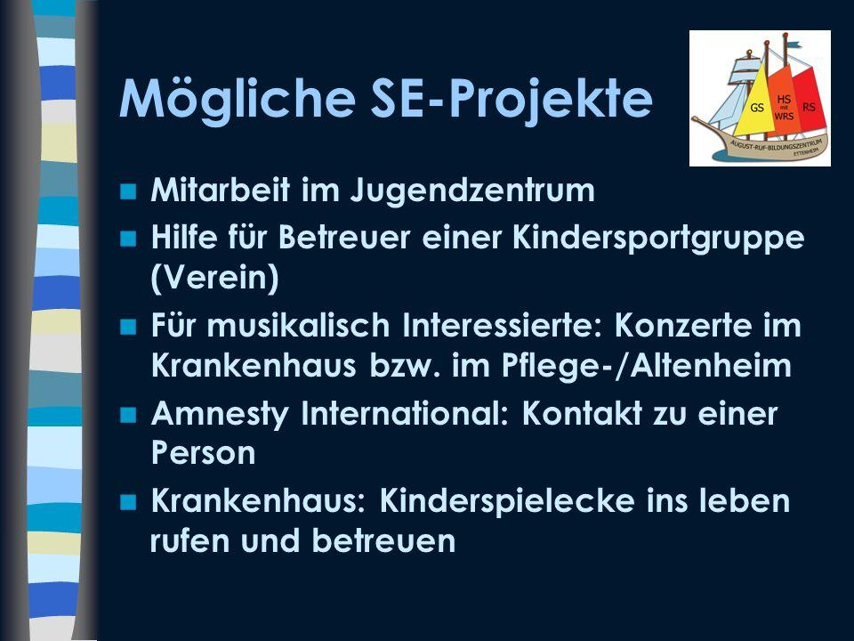 Mögliche SE-Projekte Mitarbeit im Jugendzentrum Hilfe für Betreuer einer Kindersportgruppe (Verein) Für musikalisch Interessierte: Konzerte im Kranken
