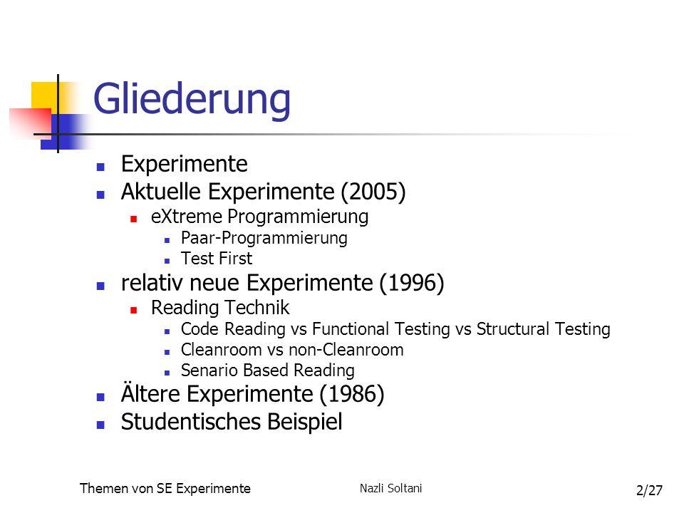 Nazli Soltani Themen von SE Experimente 13/27 Experimente über Testgetriebene Entwicklung (TGE) Übersicht über die untersuchten Testtechniken