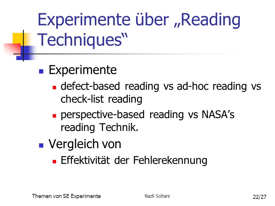 Nazli Soltani Themen von SE Experimente 22/27 Experimente über Reading Techniques Experimente defect-based reading vs ad-hoc reading vs check-list reading perspective-based reading vs NASAs reading Technik.