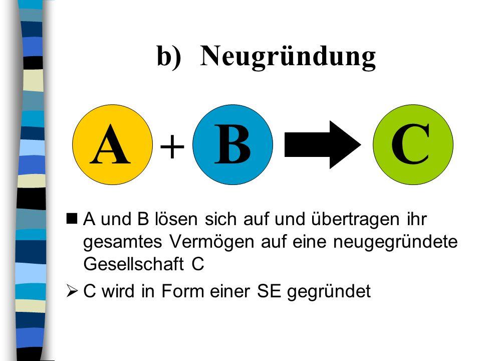 a)Aufnahme Unternehmen B löst sich auf und überträgt sein Vermögen komplett auf das Unternehmen A Das neue Unternehmen nimmt die Form einer SE an AAB