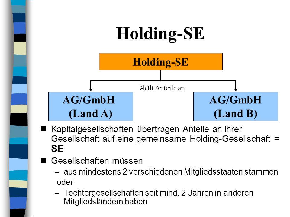 Holding-Organisation Eine Dachgesellschaft hält Beteiligungen an Tochtergesellschaften Evtl. übernimmt die Dachgesellschaft Aufgaben wie Management od