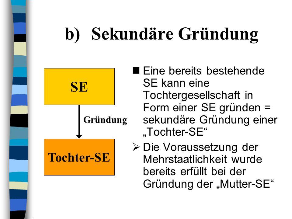 a)Primäre Gründung Unternehmen A und B (=Kapital- oder Personengesellschaft) gründen zusammen eine Tochtergesellschaft = primäre Gründung Entweder A u