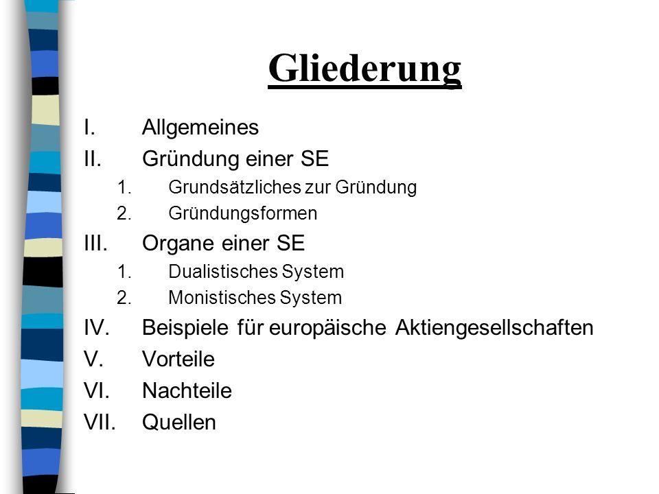 IV.Beispiele für Europäische Aktiengesellschaften 1.Allianz SE 2.Porsche Automobil Holding SE
