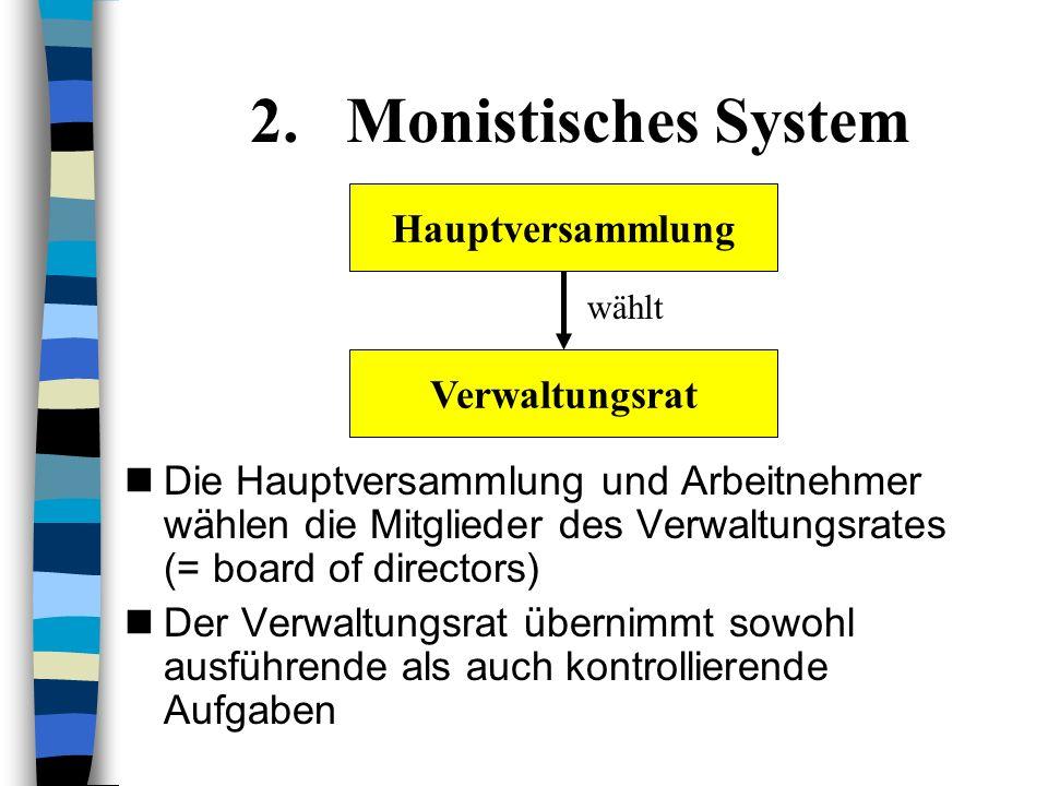 1.Dualistisches System Wie bei einer AG: Hauptversammlung aus Aktionären Aufsichtsrat: Wahl durch HV und Arbeitnehmer Vorstand: Wahl durch Aufsichtsra