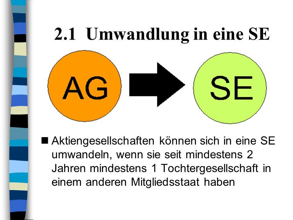 2.1 Umwandlung in eine SE Aktiengesellschaften können sich in eine SE umwandeln, wenn sie seit mindestens 2 Jahren mindestens 1 Tochtergesellschaft in einem anderen Mitgliedsstaat haben