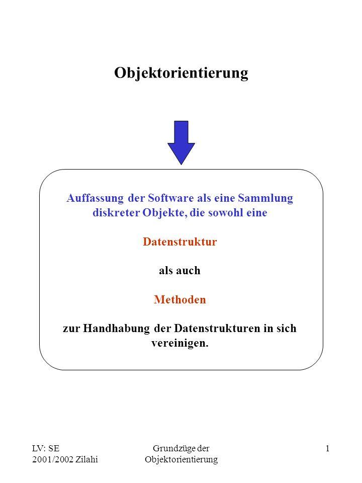 LV: SE 2001/2002 Zilahi Grundzüge der Objektorientierung 1 Objektorientierung Auffassung der Software als eine Sammlung diskreter Objekte, die sowohl eine Datenstruktur als auch Methoden zur Handhabung der Datenstrukturen in sich vereinigen.