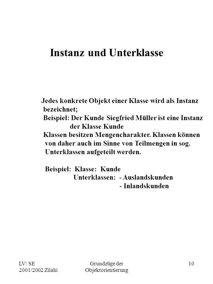 LV: SE 2001/2002 Zilahi Grundzüge der Objektorientierung 10 Instanz und Unterklasse Jedes konkrete Objekt einer Klasse wird als Instanz bezeichnet; Beispiel: Der Kunde Siegfried Müller ist eine Instanz der Klasse Kunde Klassen besitzen Mengencharakter.
