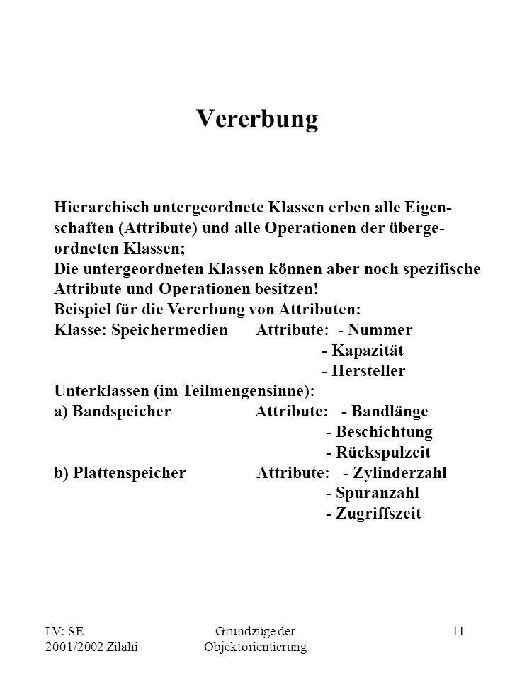 LV: SE 2001/2002 Zilahi Grundzüge der Objektorientierung 11 Vererbung Hierarchisch untergeordnete Klassen erben alle Eigen- schaften (Attribute) und a