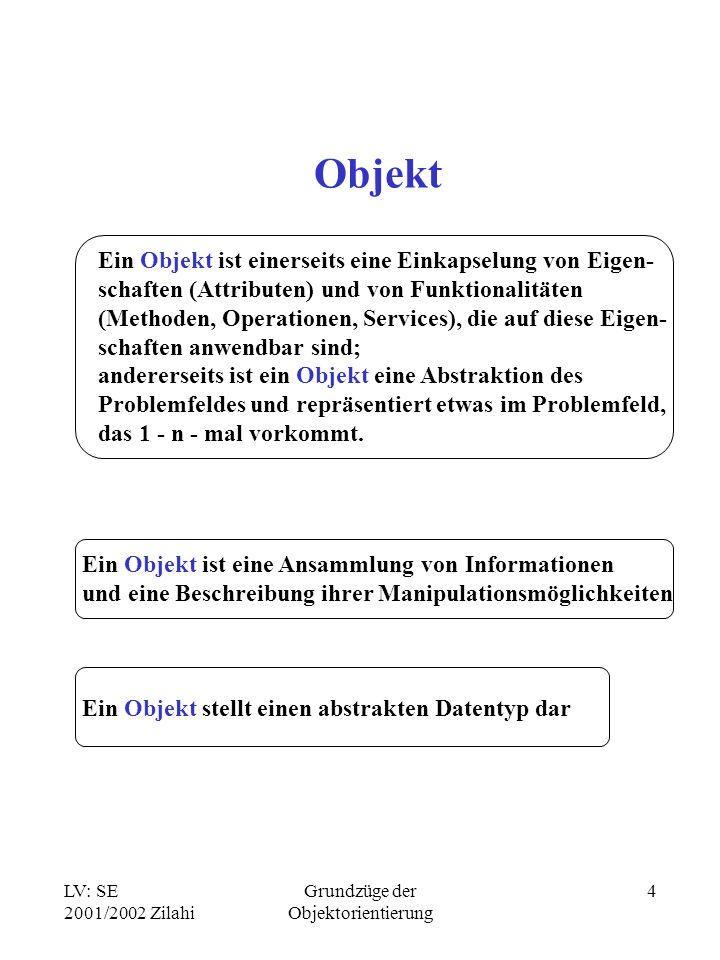 LV: SE 2001/2002 Zilahi Grundzüge der Objektorientierung 4 Objekt Ein Objekt ist einerseits eine Einkapselung von Eigen- schaften (Attributen) und von Funktionalitäten (Methoden, Operationen, Services), die auf diese Eigen- schaften anwendbar sind; andererseits ist ein Objekt eine Abstraktion des Problemfeldes und repräsentiert etwas im Problemfeld, das 1 - n - mal vorkommt.