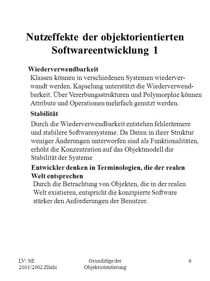 LV: SE 2001/2002 Zilahi Grundzüge der Objektorientierung 6 Nutzeffekte der objektorientierten Softwareentwicklung 1 Wiederverwendbarkeit Klassen können in verschiedenen Systemen wiederver- wandt werden.
