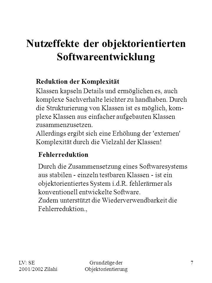 LV: SE 2001/2002 Zilahi Grundzüge der Objektorientierung 7 Nutzeffekte der objektorientierten Softwareentwicklung Reduktion der Komplexität Klassen ka