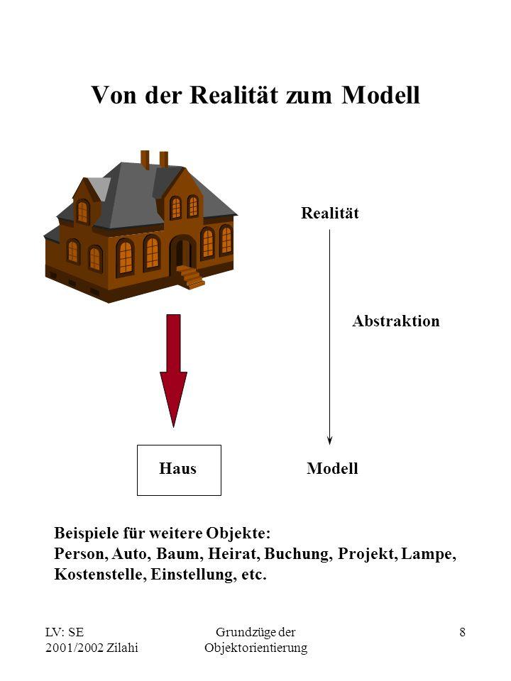 LV: SE 2001/2002 Zilahi Grundzüge der Objektorientierung 8 Von der Realität zum Modell Realität Modell Haus Beispiele für weitere Objekte: Person, Auto, Baum, Heirat, Buchung, Projekt, Lampe, Kostenstelle, Einstellung, etc.