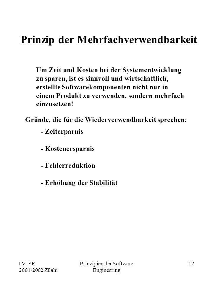 LV: SE 2001/2002 Zilahi Prinzipien der Software Engineering 12 Prinzip der Mehrfachverwendbarkeit Um Zeit und Kosten bei der Systementwicklung zu spar