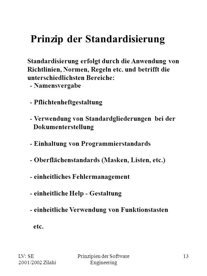 LV: SE 2001/2002 Zilahi Prinzipien der Software Engineering 13 Prinzip der Standardisierung Standardisierung erfolgt durch die Anwendung von Richtlini