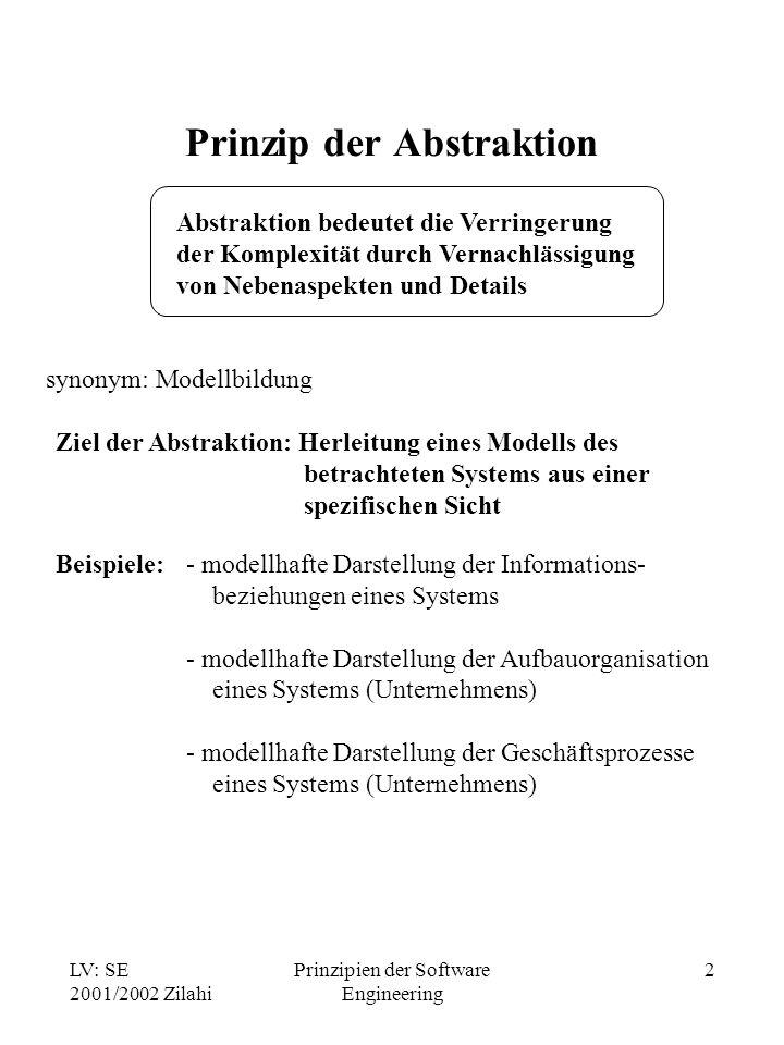 LV: SE 2001/2002 Zilahi Prinzipien der Software Engineering 2 Prinzip der Abstraktion Abstraktion bedeutet die Verringerung der Komplexität durch Vern