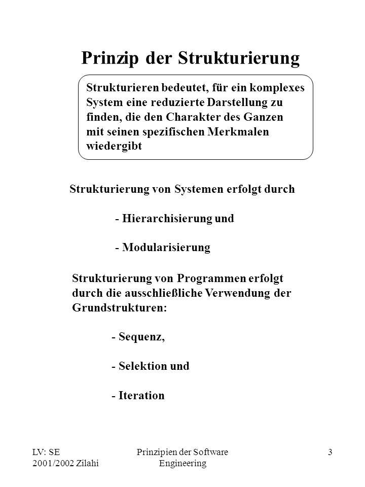 LV: SE 2001/2002 Zilahi Prinzipien der Software Engineering 3 Prinzip der Strukturierung Strukturieren bedeutet, für ein komplexes System eine reduzie