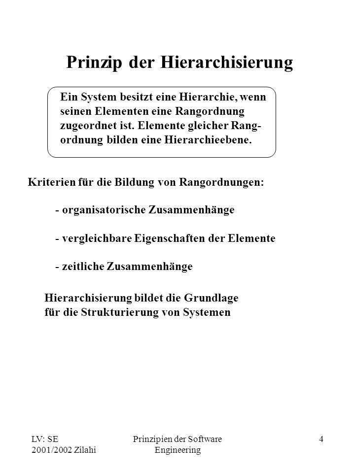 LV: SE 2001/2002 Zilahi Prinzipien der Software Engineering 4 Prinzip der Hierarchisierung Ein System besitzt eine Hierarchie, wenn seinen Elementen e